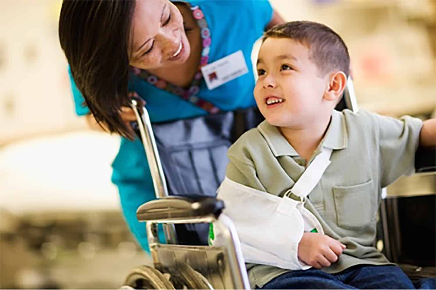 Orthopedic Services Kid in Wheelchair with Broken Arm